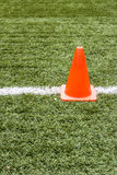Artificial grass and traffic cones. Artificial grass and traffic cones in football field Stock Photography