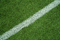 Artificial Grass with White Line Stock Photography