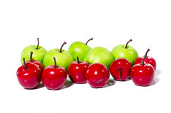 Artificial green apple on white background, clipping part closeup Royalty Free Stock Photography