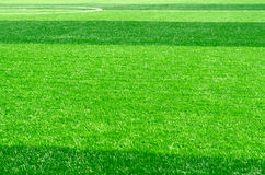Artificial green grass of soccer field Royalty Free Stock Image