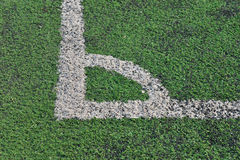Artificial green grass soccer field Stock Image