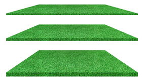 Artificial green grass texture isolated on white background. Artificial green grass texture isolated on white background for golf course. soccer field or sports Stock Photo