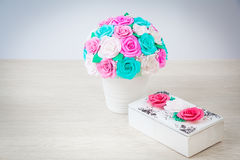 Artificial flowers roses from foam Royalty Free Stock Images
