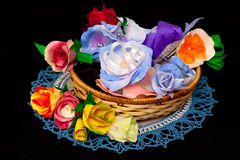 Artificial handmade roses Stock Photos