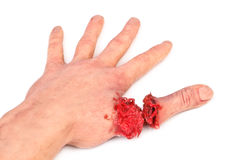 Artificial human hand with cut out finger Royalty Free Stock Photo
