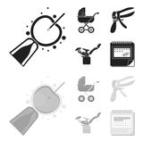 Artificial insemination, baby carriage, instrument, gynecological chair. Pregnancy set collection icons in black. Monochrome style vector symbol stock Stock Images