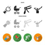 Artificial insemination, baby carriage, instrument, gynecological chair. Pregnancy set collection icons in black, flat. Monochrome style vector symbol stock Stock Photography
