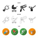Artificial insemination, baby carriage, instrument, gynecological chair. Pregnancy set collection icons in black,flat. Outline style vector symbol stock Stock Images