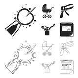 Artificial insemination, baby carriage, instrument, gynecological chair. Pregnancy set collection icons in black,outline. Style vector symbol stock illustration Royalty Free Stock Image
