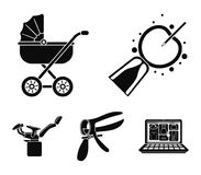 Artificial insemination, baby carriage, instrument, gynecological chair. Pregnancy set collection icons in black style. Vector symbol stock illustration flat Royalty Free Stock Image
