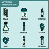 Artificial insemination icon set. Artificial insemination color outline isometric icons. Vector illustration, EPS 10 Royalty Free Stock Photo