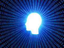 Artificial inteligence and personal data. Artificial intelligence or personal data concept with binary background