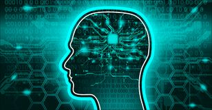 Artificial intellect hi-tech AI mind banner. AI intellect artificial abstract illustration Stock Photography