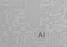 Artificial intelligence / AI concept as  background with CPU / microchips.  Stock Photo