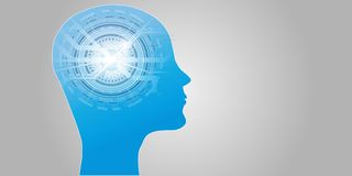 Artificial Intelligence AI Futuristic Concept. Human Big data Visualization with Cyber Mind. Machine Deep Learning. Stock Images