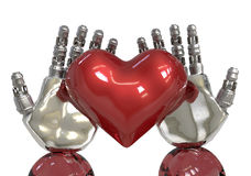 Artificial intelligence or AI hands holding a red heart. robot can feeling in love like human. Royalty Free Stock Photography