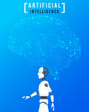 Artificial intelligence (AI) with high technology on blue background stock illustration