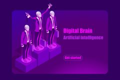 Artificial Intelligence Template Concept for Hero Images. Artificial intelligence ai isometric concept. Can use for web banner, infographics, hero images. Flat Royalty Free Stock Photo
