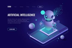 Artificial intelligence ai isometric, robot technology, smart data processing and analysis, mobile phone application. Dark neon vector, digital marketing royalty free illustration
