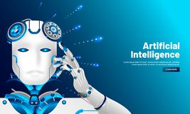 Artificial intelligence (AI) responsive web template design, Cyborg thinking on shiny blue background for Machine learning vector illustration