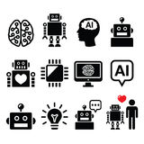 Artificial Intelligence (AI), robot icons set Royalty Free Stock Photography