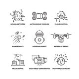 Artificial intelligence ai robot vector thin line icons Stock Images