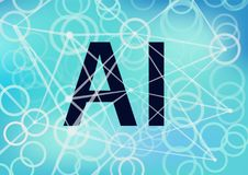 Artificial intelligence AI text displayed in front of neural network illustration Stock Image