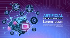 Artificial Intelligence Banner With Cyber Brain Cog Wheel And Gears Over Motherboard Background With Copy Space. Flat Vector Illustration vector illustration