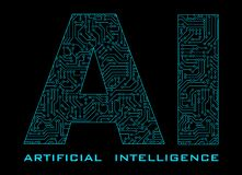 Artificial Intelligence with blue circuit isolated on black back stock illustration