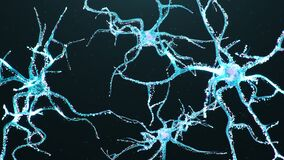 Artificial intelligence in brain. AI Neuron cells sending electrical chemical signals. Activity of electrical impulses