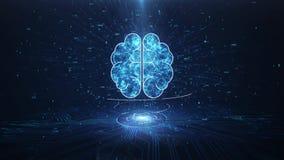Artificial Intelligence Brain Animation, Big Data Flow Analysis, Deep Learning Modern Technologies Concepts.Neural Connection Visu