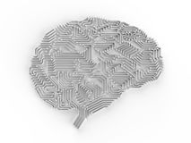 Artificial intelligence brain. 3d rendering artificial intelligence brain or circuit board in brain shape stock photos