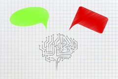 artificial intelligence brain with green and red thoughts representing good and bad feelings or ideas stock photo