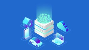 Artificial Intelligence Brain technology isometric video concept