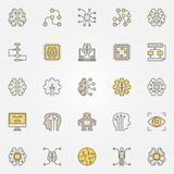 Artificial intelligence colorful icons. Vector AI symbols Royalty Free Stock Image