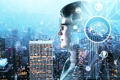 Artificial intelligence concept. Abstract side portrait of handsome businessman with polygonal brain on night city background. Artificial intelligence concept Stock Photos