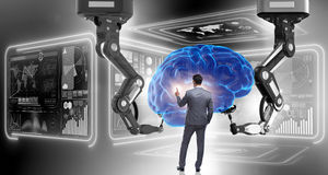 The artificial intelligence concept with businessman Royalty Free Stock Image