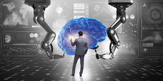 The artificial intelligence concept with businessman Stock Photography
