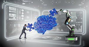 The artificial intelligence concept with businessman Royalty Free Stock Images