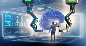 The artificial intelligence concept with businessman Royalty Free Stock Photo