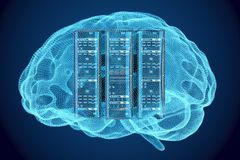 Artificial intelligence concept, Computer server racks inside br Royalty Free Stock Photography