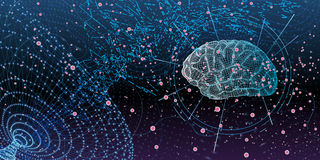 Artificial intelligence concept. Conceptual business illustration with scatter array of tiny glowing particles forming a cloud around stylized human brain Stock Photography
