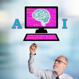 Businessman drawing artificial intelligence concept Royalty Free Stock Photography