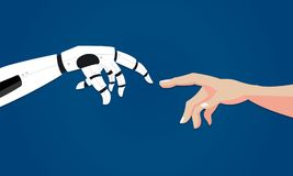 Robot gives hand to human. Artificial intelligence concept in flat design. Two hands in offer position. Vector illustration Stock Photos