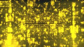 Artificial intelligence concept. Searching in a stream of yellow shining people portraits moving along bright yellow