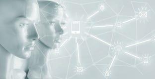 Artificial intelligence concept - Internet, network, globalization. Artificial intelligence concept - globalization, Internet, network stock images