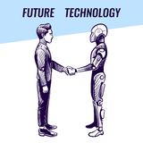 Artificial intelligence concept. Human and robot handshaking. Futuristic ai advanced technology vector background vector illustration