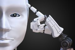 Artificial intelligence concept. Humanoid robot is thinking. 3D rendered illustration Stock Image