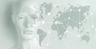 Artificial intelligence concept - Internet, network, globalization. Artificial intelligence concept - globalization, Internet, network royalty free stock photos