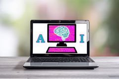 Artificial intelligence concept on a laptop screen Royalty Free Stock Photo